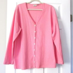 Woman's Pink/ Coral Cotton Cable Design Sweater